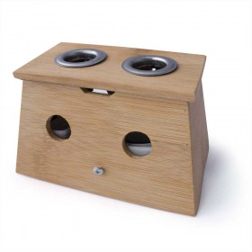 Moxa box made in bamboo with 2 holes - for cigar